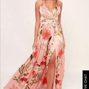 Lulus Still the One Blush Floral Print Satin Maxi